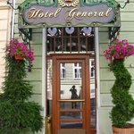 The front door - usually a doorman is there