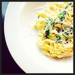 """""""Mac and Cheese"""" ... Wild mushrooms, wilted spinach, roasted garlic, housemade fettuccini  in an"""