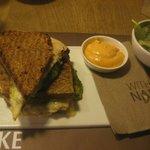 toasted sandwich with chicken breast , pesto and mozzarella = 7.25 euro