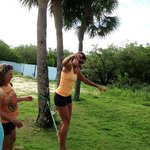 Summer Camp Fun... Cassie teaching the kids how to walk The Slack Line