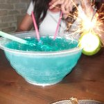 Blue Lagoon Fish bowl, Nikos put a sparkler in for us!