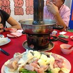 the charcoal steamboat and the food