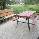 Each site has a wood deck