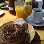 The yummy everything bagel with great coffee!