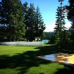View of the ceremony/reception lawn from deck