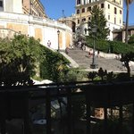 sitting on the balcony overlooking the Spanish steps