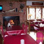 Pub tables with Large fireplace