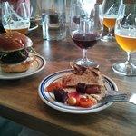 Kitchen Next Door's antipasti, beet burger slider, Hobo wine and Drydock beer -- my fave