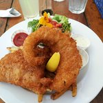 Cod and salmon fish and chips