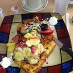 Tatiana's crusted French toast with fruit topping: $9.95
