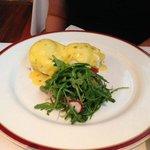 Bar Americain's crabcake eggs benedict: $26
