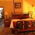 great furnishing inside the tent and bathroom
