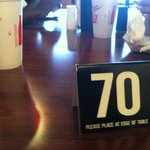 order number placed on your table