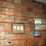 Interior shot of some neat apple crates that form the wall.