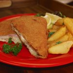Cordon Bleu (Pork cutlet w/ Swiss and Ham), Hand Cutted Fries