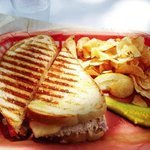 Tuna Melt, Chips, and a soggy pickle