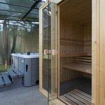 Vue jacuzzi et sauna