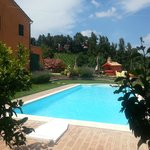 Vista della piscina dal portico