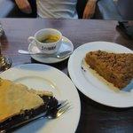 Mulberry pie and mango crumb
