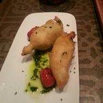 Fried Zucchini flowers stuffed with feta cheese