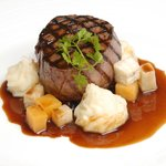 Fillet of beef with rosemary mash and roast root veg