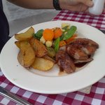 Duck glaze with chunky chips and veg