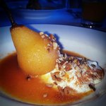 delectable poached pear for breakfast