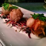 pan fried black pearl scallops in tempura batter and served with an Asian slaw and red chilli ma