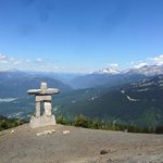 Stone man at the restaurant on top of Whistler