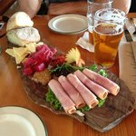 Ploughman's lunch and beer