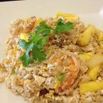 Shrimp fried rice with pineapples