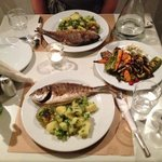 Sea Bream and potato salad with grilled veg - really delicious