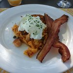 Smoked Salmon hash with bacon & poached egg