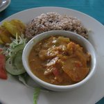 Rice and beans, special coconut shrimp, patacones
