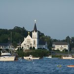 view of church across the harbor