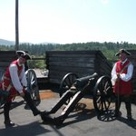 Tour guides demonstrate cannon fire