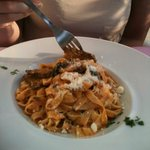 Tagliatelle - fresh pasta and steak. Outrageously good.