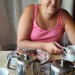enjoying our breakfast