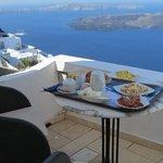 Breakfast on our balcony