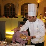 Exec Chef Sandeep Kalra expalining the different breads to guests