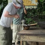 Grinding the cacao