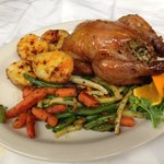 Apricot glazed stuffed Cornish hen...amazing!!!
