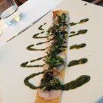 "Crayfish ""mini pizza"" with basil pesto at Sant Joan"