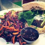 Oyster mushroom burger in a sourdough bap with salads and dressings...