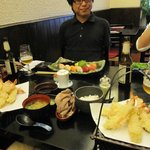 Tempura, sushi and miso soup