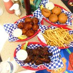 Conch fritters, wings, fries, grouper sliders