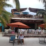 Looking from the beach area to the restaurant