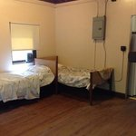 main room, beds