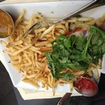Shoestring Fries & Open faced grilled cheese