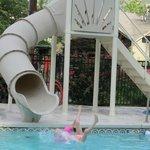 Kids water slide in the pool area